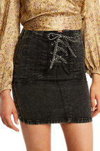 CORSET ACID WASH SKIRT in colour JET SET