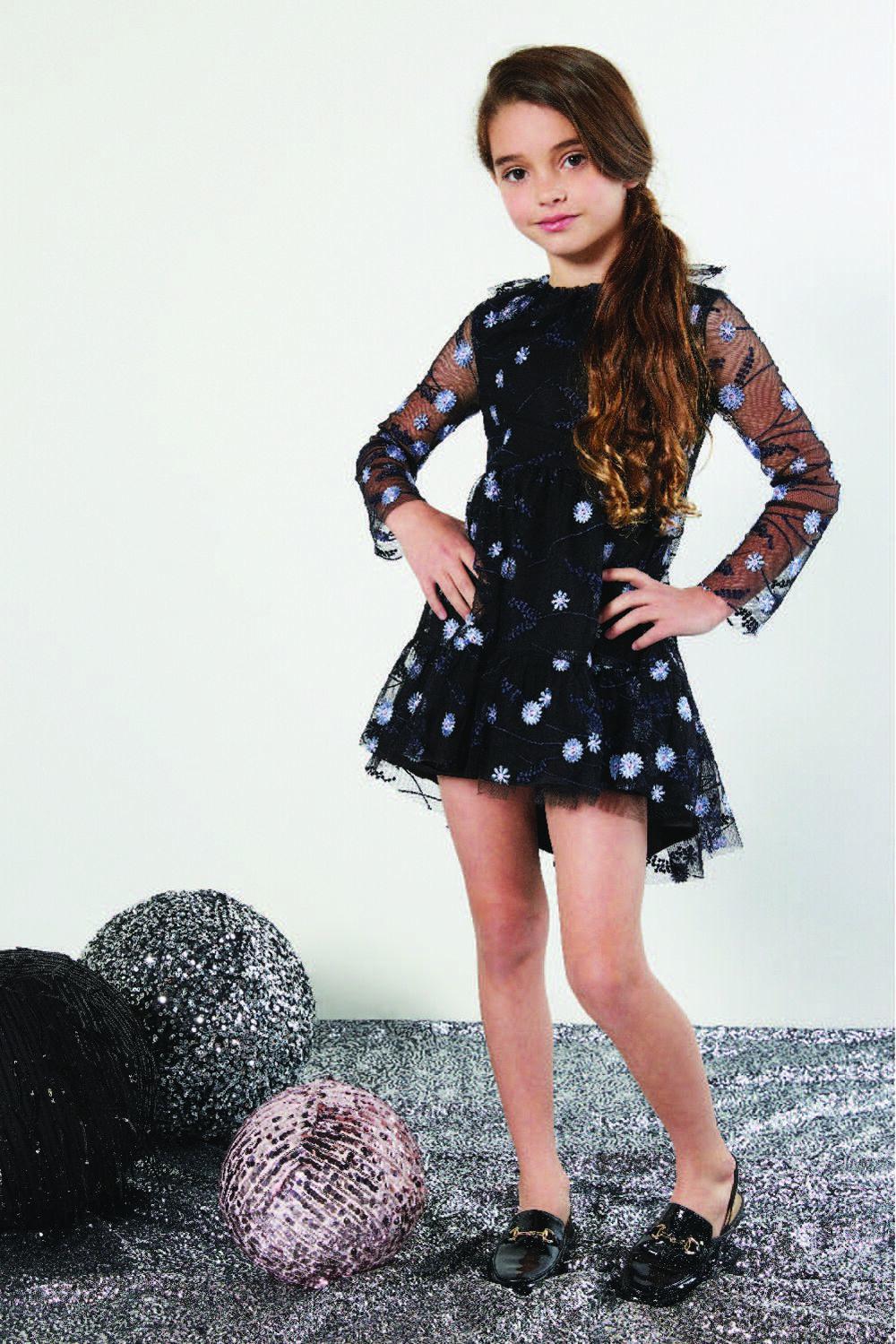 TWEEN GIRL CANDICE MESH DRESS in colour JET BLACK