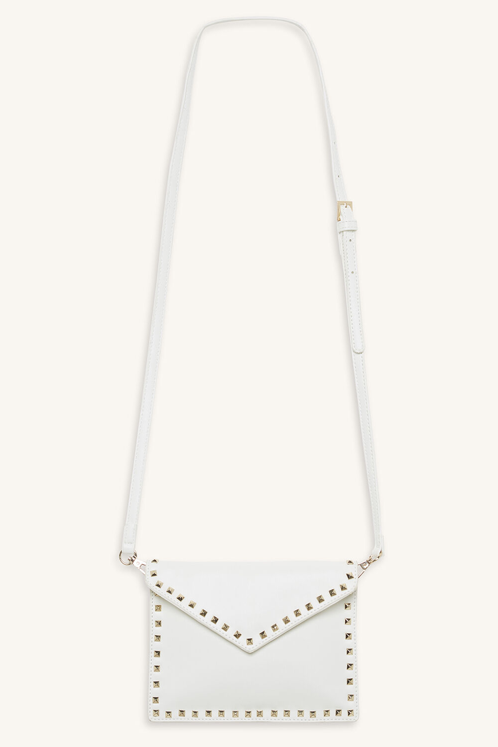 STUDDED ENVELOPE CLUTCH WITH STRAP in colour CLOUD DANCER