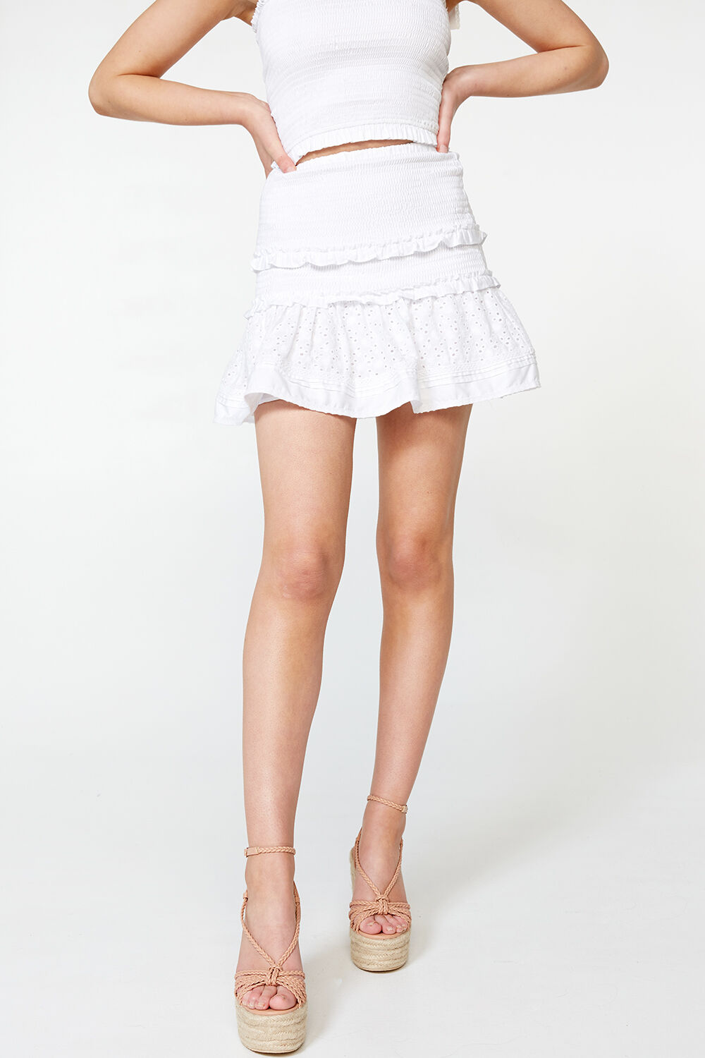 LOLITA SHIRRED SKIRT in colour CLOUD DANCER