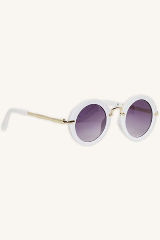 ISABELLA ROUND SUNGLASSES in colour WHITE ALYSSUM