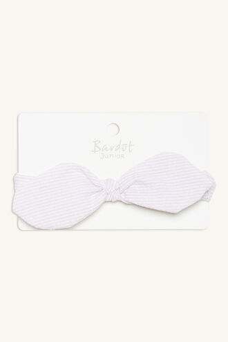 STRIPE BOW BABY HEADBAND in colour PINK CARNATION