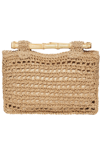 STRAW SHOPPER BAG in colour BEIGE