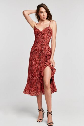 LEXIE MIDI DRESS in colour TOMATO