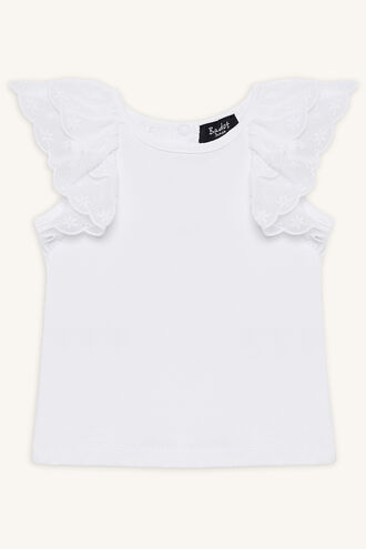 FRILL SLEEVE TEE in colour BRIGHT WHITE