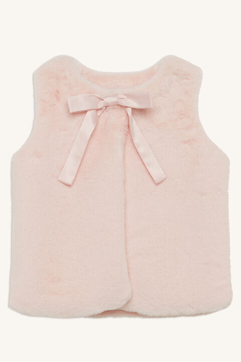 SASCHA FURRY GILET in colour ROSEWATER