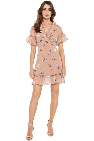 TARRYN PRINT DRESS in colour PEACH BEIGE