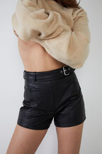 VEGAN LEATHER SPLICED SHORT in colour CAVIAR