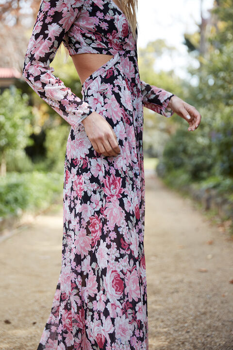 GARDEN FLORAL DRESS   in colour SLATE ROSE