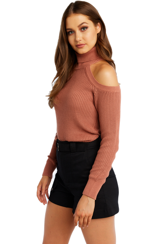 COLD SHOULDER KNIT in colour HENNA