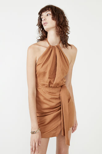 GODDESS HALTER DRESS in colour TAN