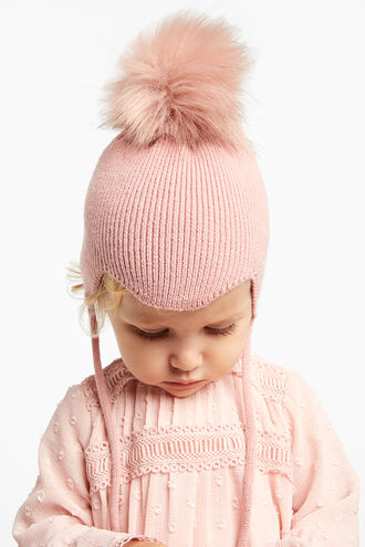 BABY POM BEANIE in colour PINK CARNATION