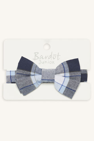 VICTOR CHECK BOW TIE in colour BLUE BELL