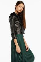 tween girl CHLOE vegan leather RUFFLE JACKET in colour CAVIAR