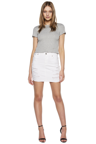 WHITE TRASHED SKIRT in colour BRIGHT WHITE