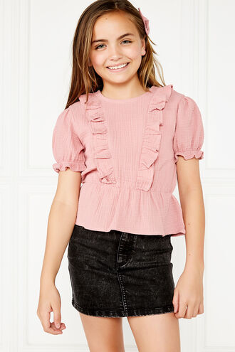 PIA RUFFLE TOP. in colour STRAWBERRY ICE
