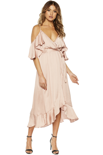 BEA WRAP DRESS in colour EVENING SAND