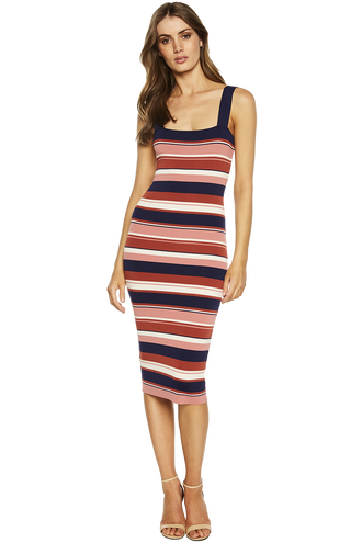 MULTI STRIPE DRESS in colour CLOUD DANCER