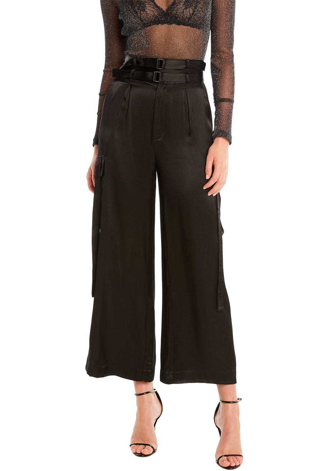 SATIN CARGO PANT in colour CAVIAR