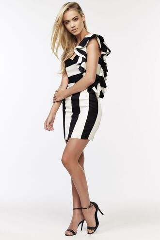 STRIPE RUFFLE DRESS in colour CAVIAR