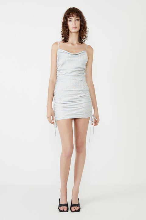ROUCHED SIDE MINI DRESS in colour WAN BLUE
