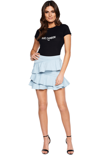 CARLY DENIM SKIRT in colour WINTER SKY