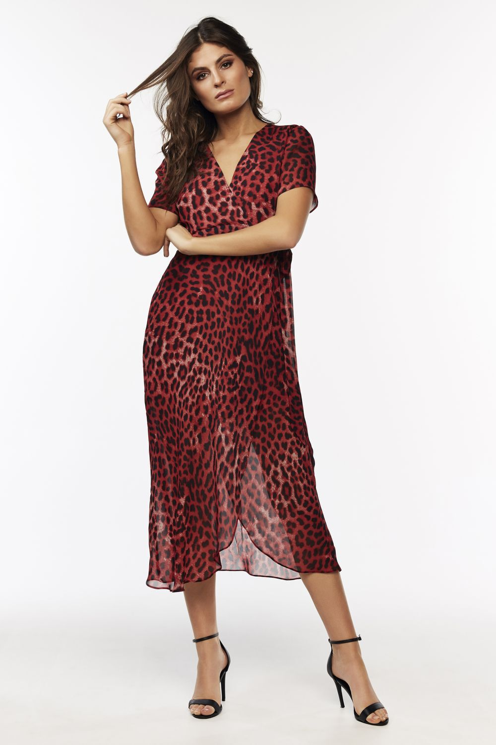 LEOPARD WRAP DRESS in colour CHILI PEPPER