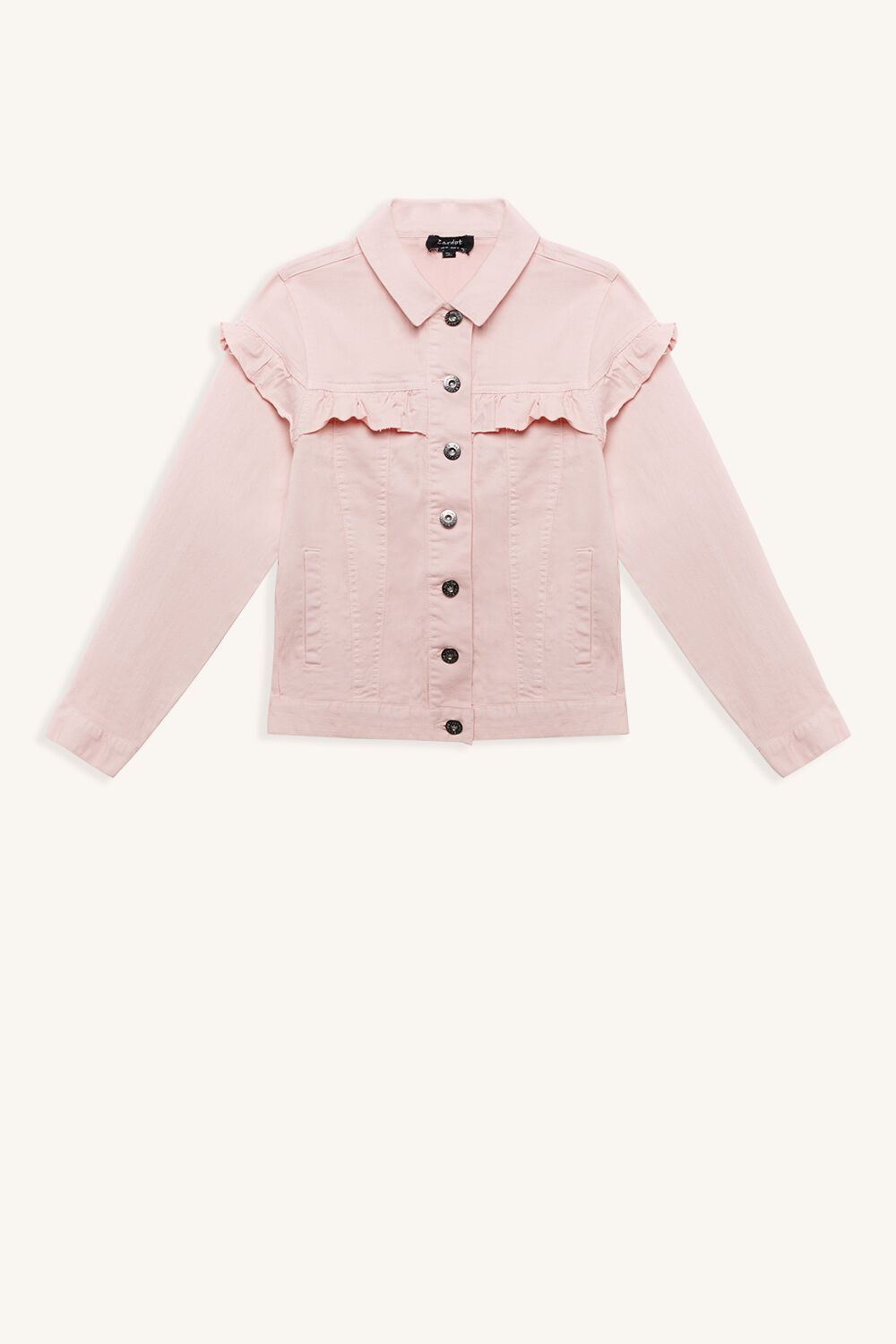 DIEGO RUFFLE JACKET in colour PEACH WHIP