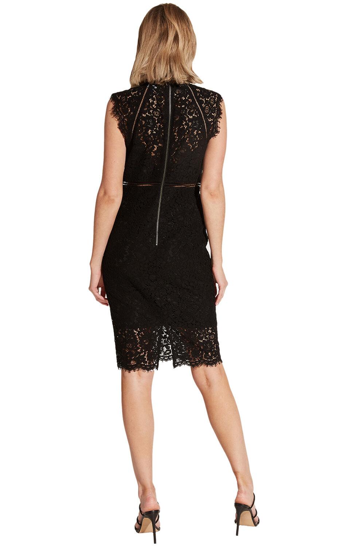 LACE PANEL DRESS in colour CAVIAR