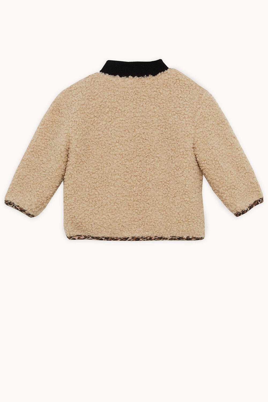 LEOPARD SHERPA JKT in colour ALMOND