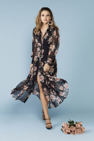 NAVY FLORAL DRESS in colour ESTATE BLUE