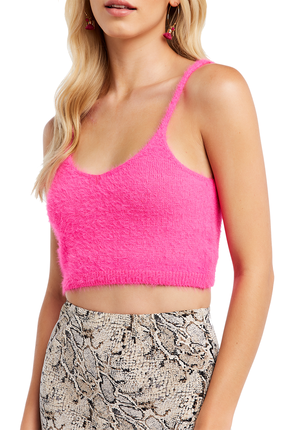 FLUFFY KNIT TANK in colour BEETROOT PURPLE