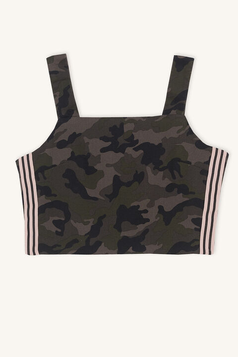 CAMO CROPPED TOP in colour BURNT OLIVE