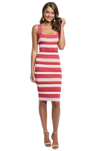 MULTI STRIPE DRESS in colour FUCHSIA PURPLE