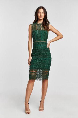 MARIANA LACE DRESS in colour DARK GREEN