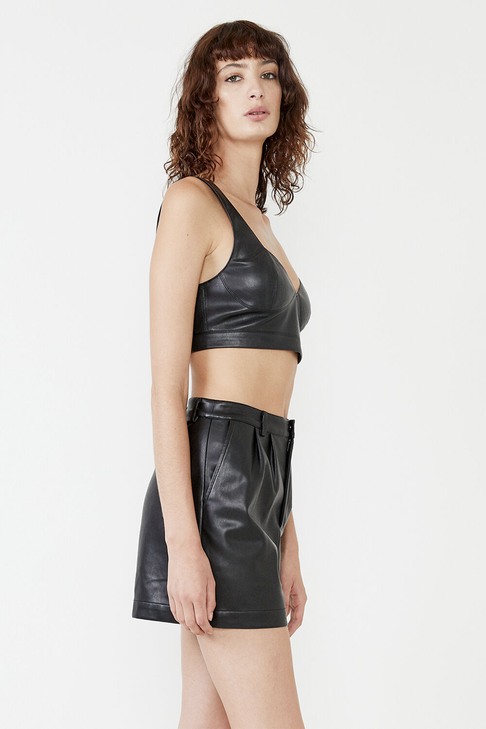 ANYA VEGAN LEATHER BRALETTE  in colour CAVIAR