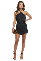 HALTER TIE PLAYSUIT in colour CAVIAR