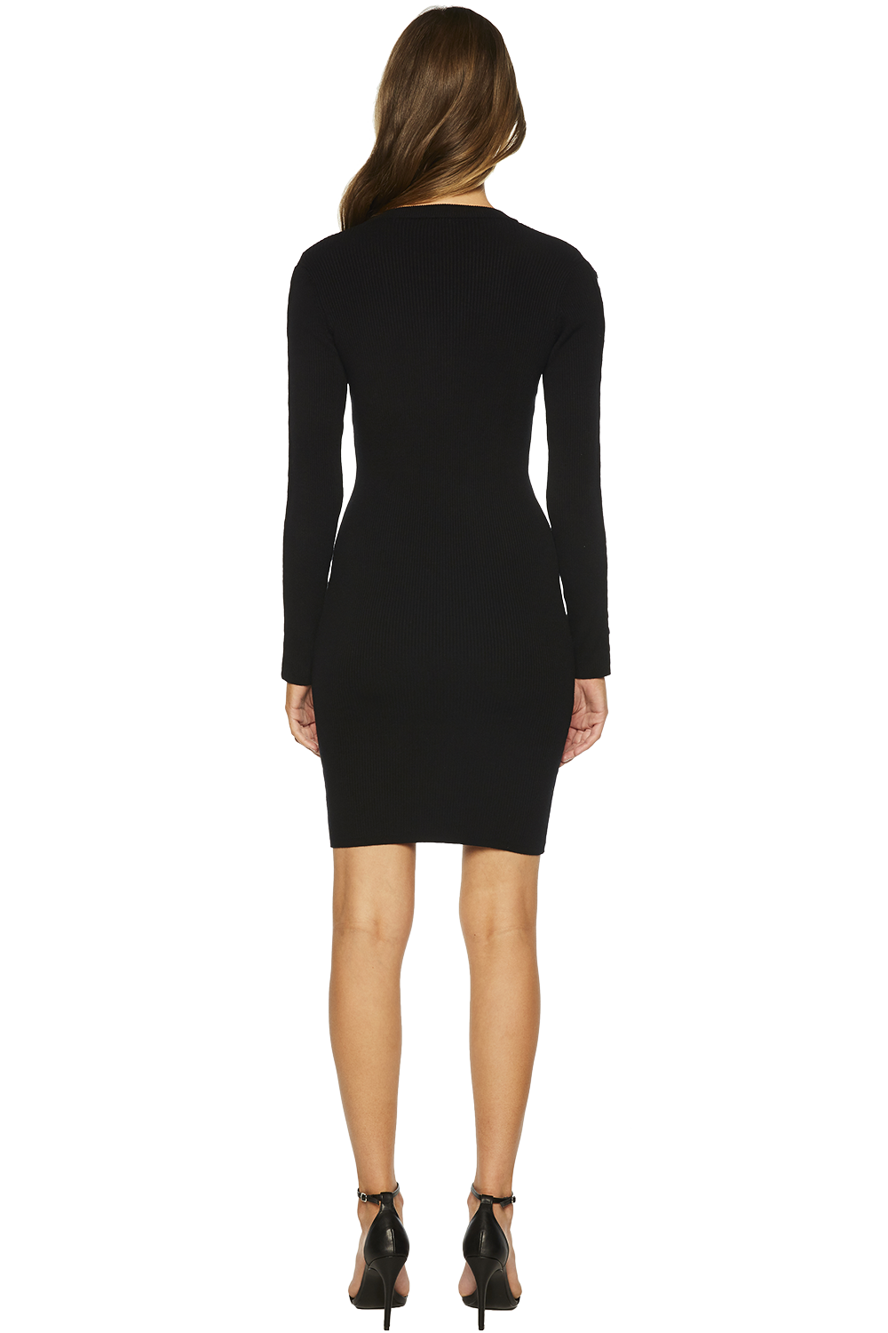 O RING KNIT DRESS in colour CAVIAR
