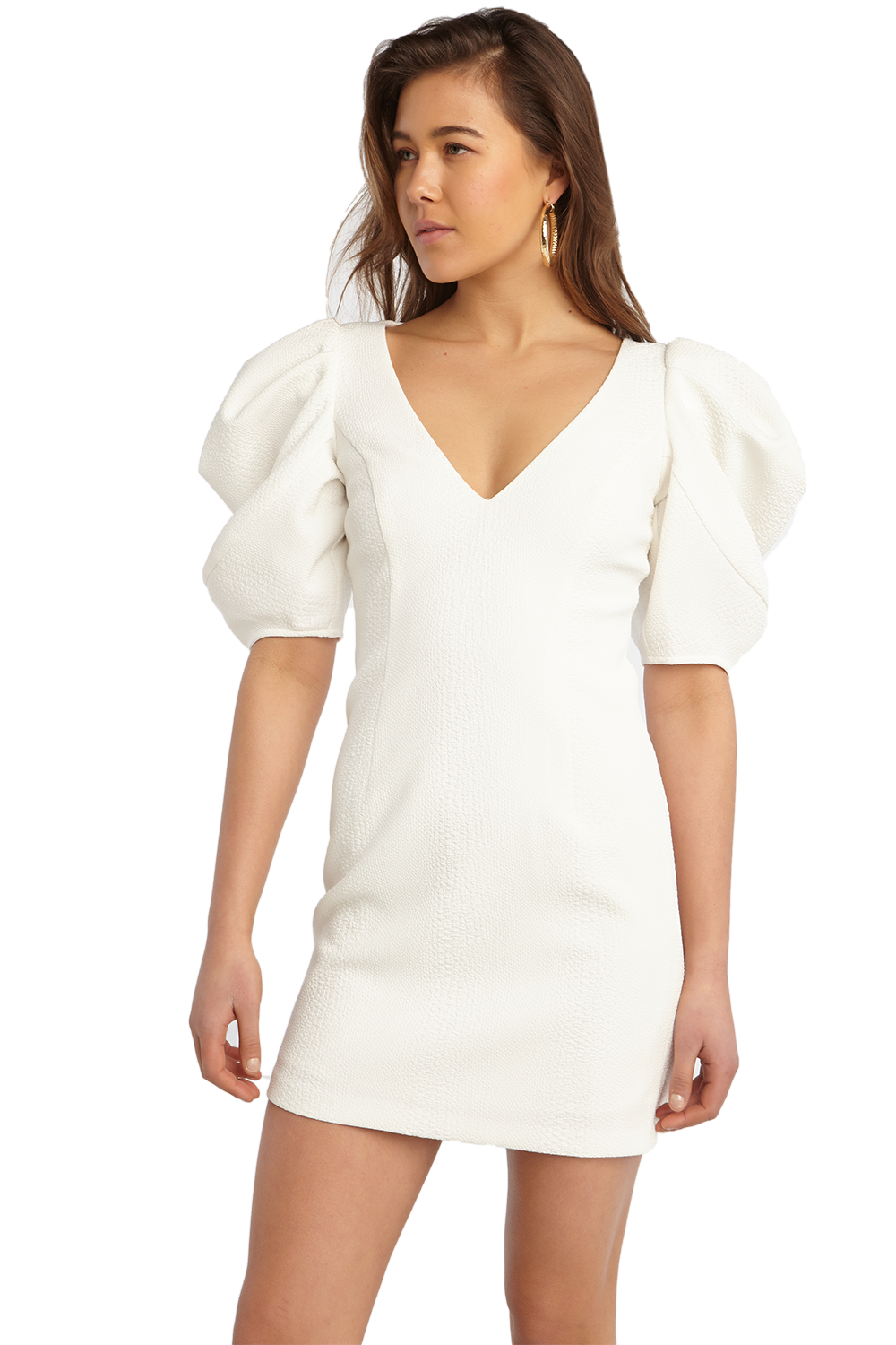 FERGIE MINI DRESS in colour CLOUD DANCER