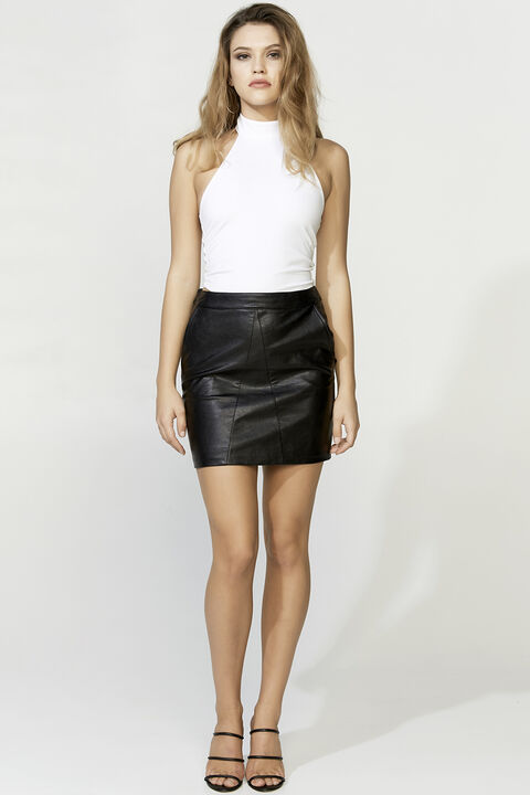ALEXIS PU SKIRT in colour CAVIAR
