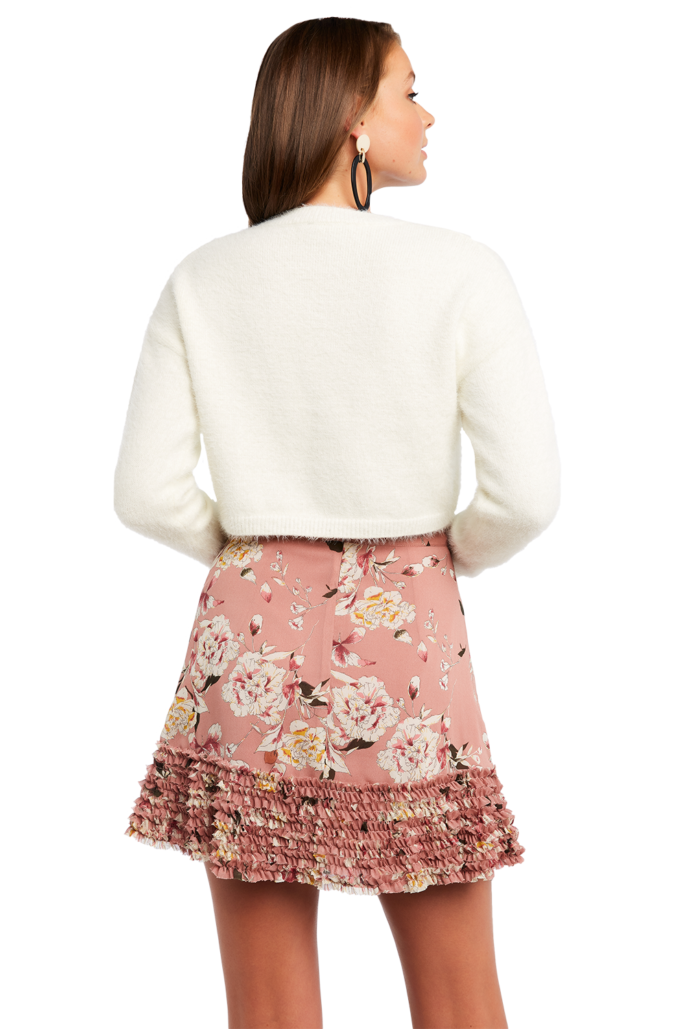 CROPPED FLUFFY KNIT JUMPER in colour ANTIQUE WHITE