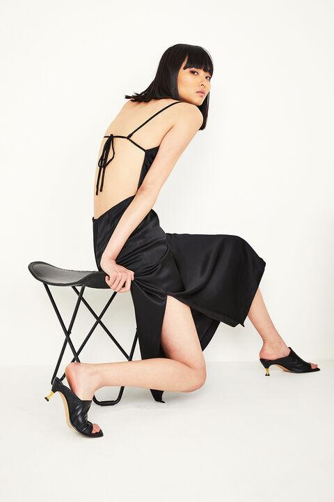 EXPOSED BACK SLIP DRESS in colour CAVIAR