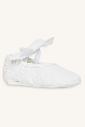 PRETTY BRODERIE BABY SHOE in colour WHITE ALYSSUM