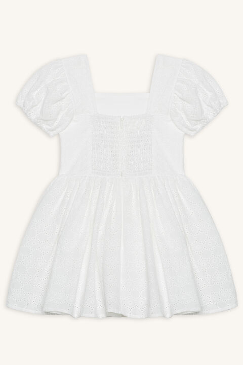 NORA BRODERIE DRESS in colour CLOUD DANCER