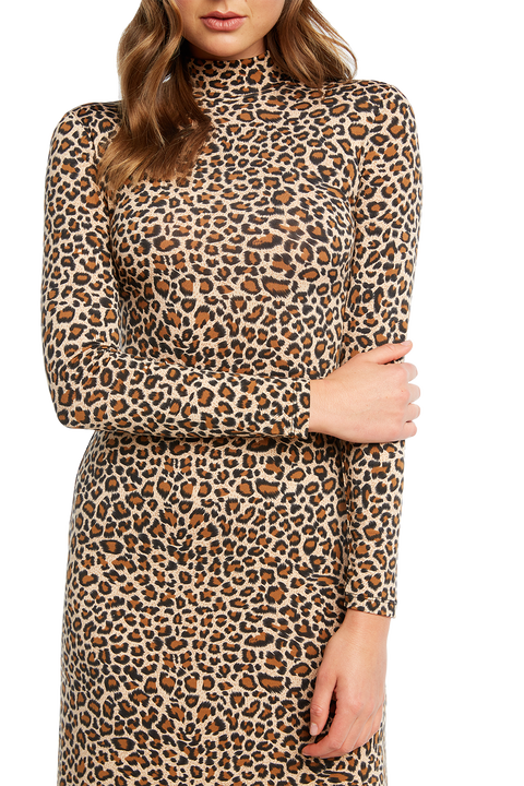 LEOPARD MAXI DRESS in colour LATTE