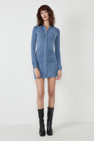THE GATHERED SLINKY DRESS in colour BLUEBIRD