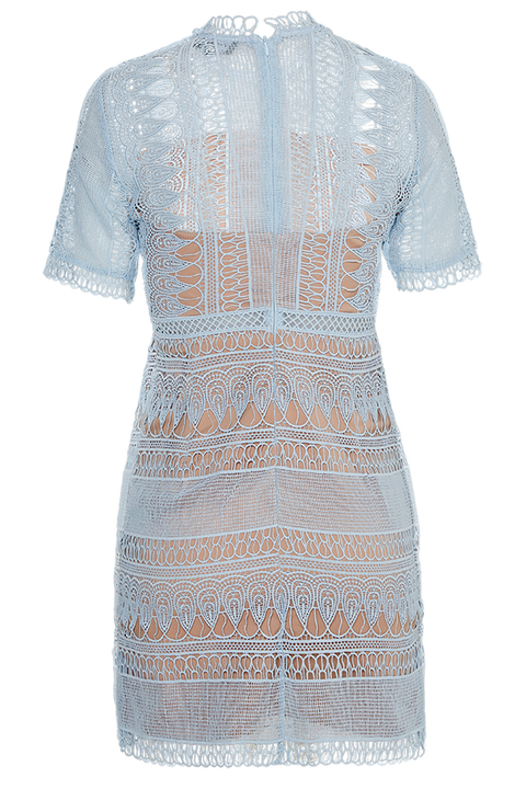 BRENDA LACE DRESS in colour WINTER SKY