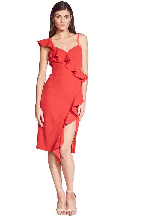DESTINY FRILL DRESS in colour FIESTA
