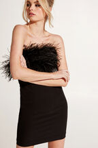 FEATHER DRESS in colour CAVIAR