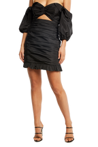 MINI ROUCHED SKIRT in colour CAVIAR